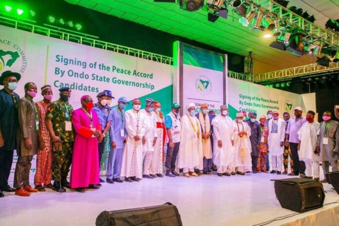 Ondo 2020 Governorship Candidates Sign Peace Accord